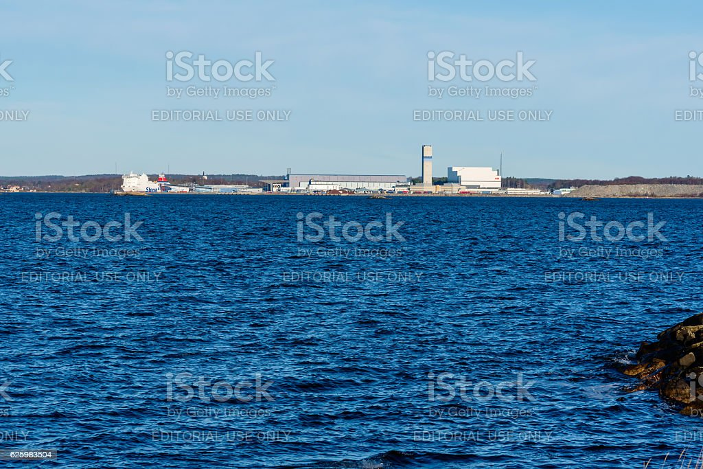 Industrial area from the sea stock photo