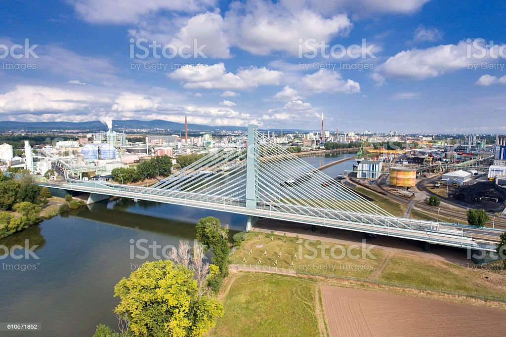Industrial area Industriepark Infraserv Hoechst Frankfurt stock photo