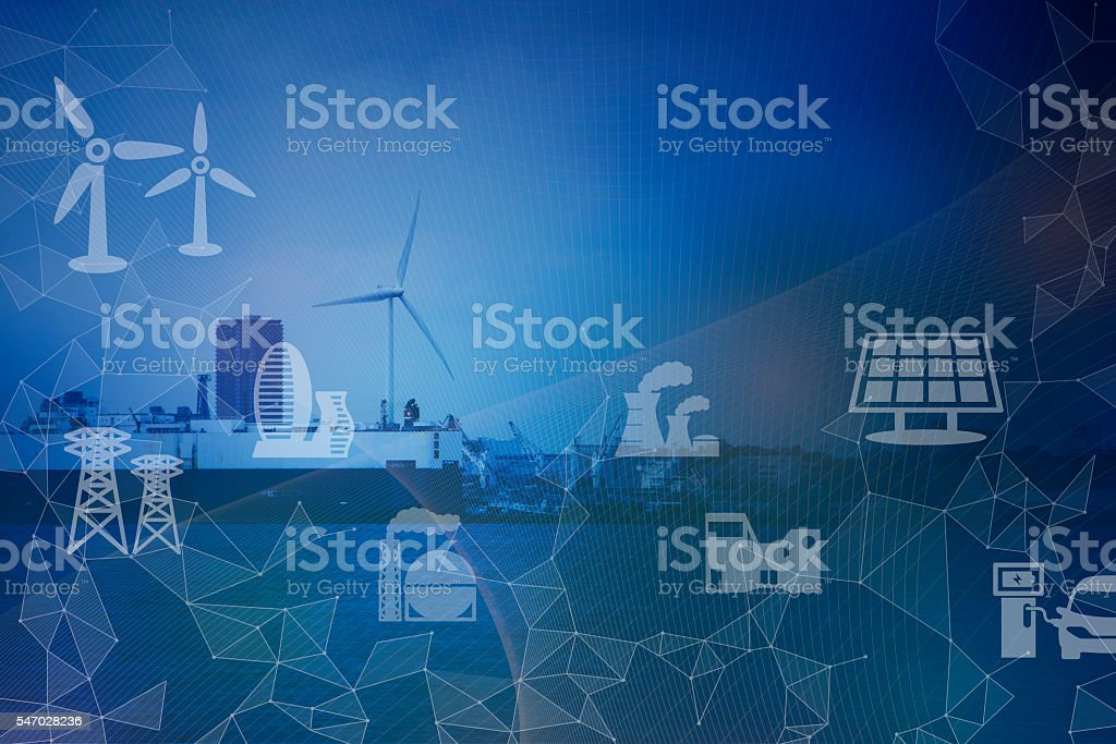 Industrial area on the coast, smart energy stock photo