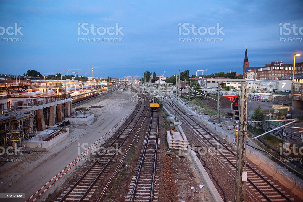 industrial area train station in East Berlin stock photo