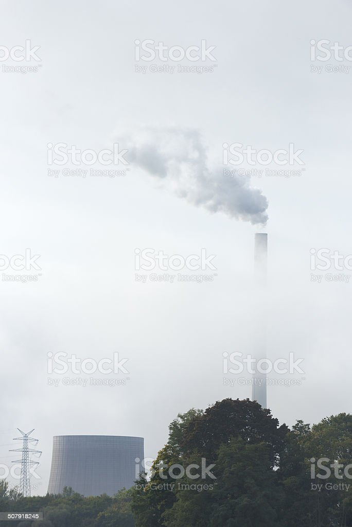 Industrial area with air Pollution stock photo