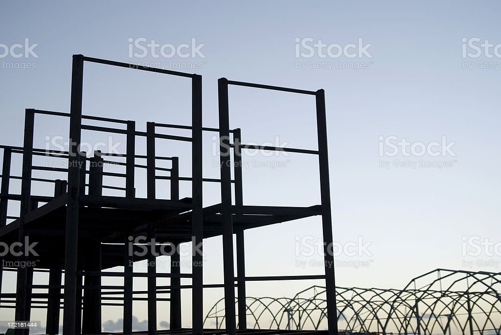 Industrial Area With Blue Evening Sky royalty-free stock photo