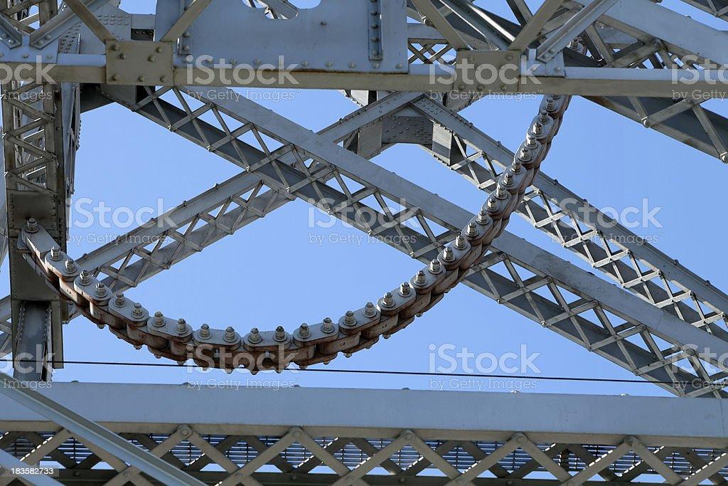 Industrial Artistic suspension bridge chain stock photo
