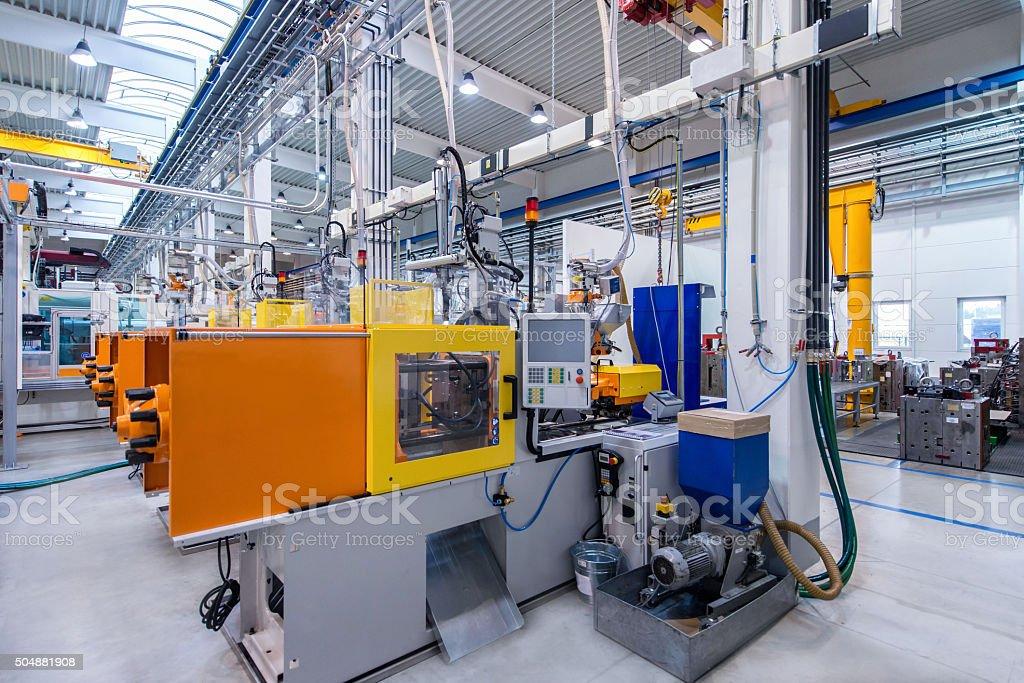 Industrial automated machines stock photo