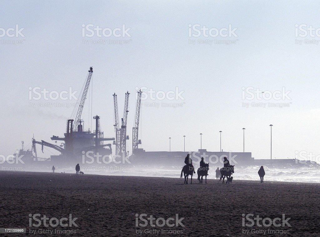 Industrial Beach w. a mist royalty-free stock photo