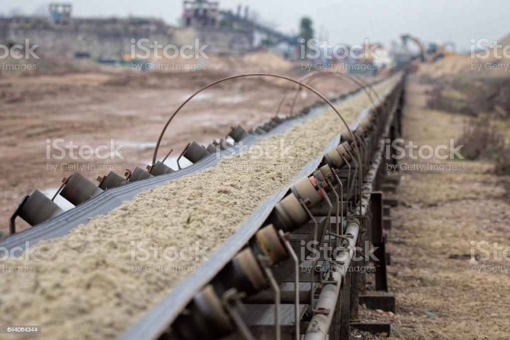 Industrial belt conveyor. Earth moving equipment. stock photo