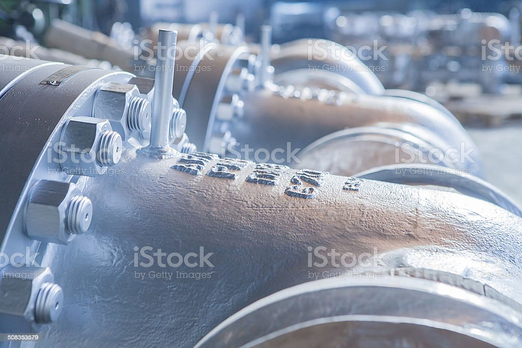 Industrial big dimentions gate valves stock photo