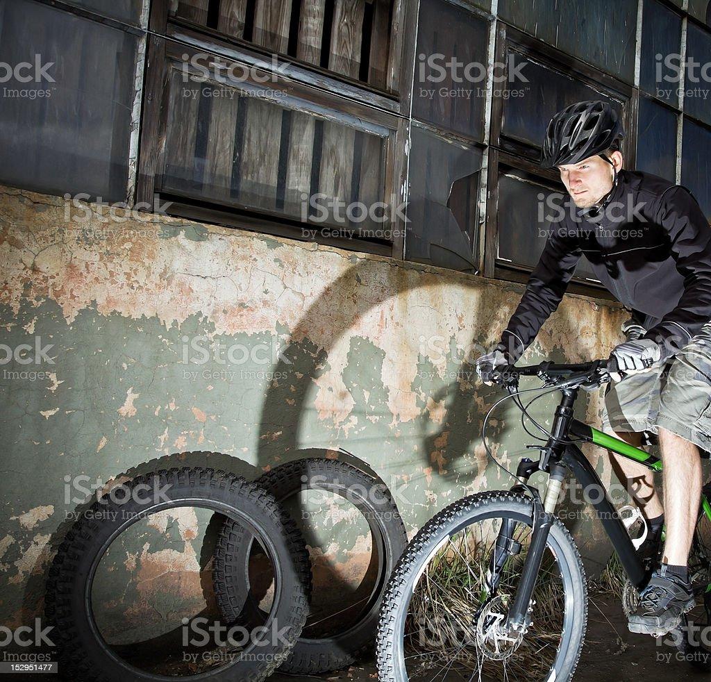 Industrial bike rider royalty-free stock photo