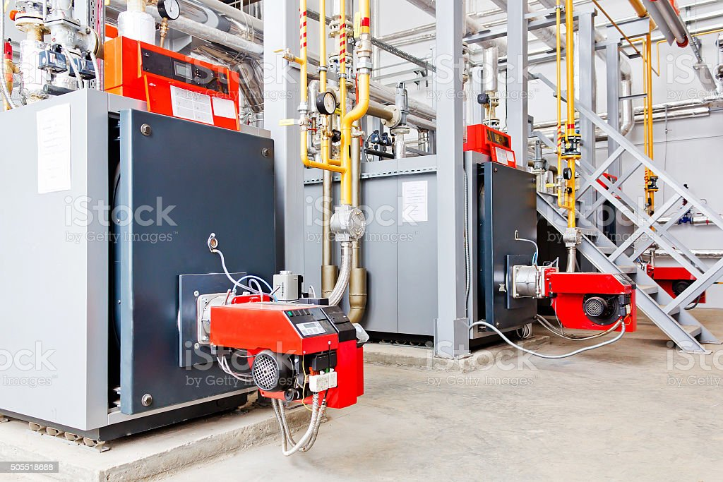 Industrial boiler equipment at plant stock photo