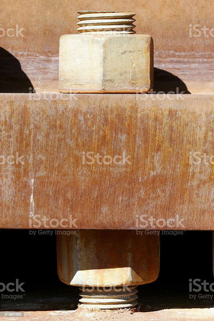 Industrial Bolt & Rusted Metal stock photo