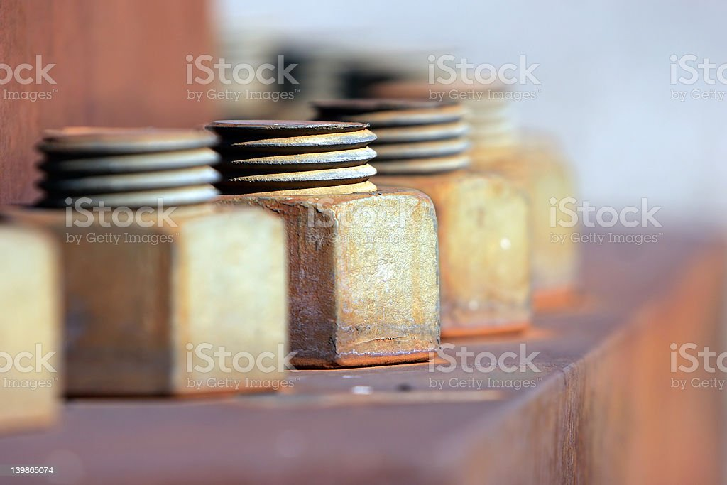 Industrial Bolts - Rusted Circle stock photo