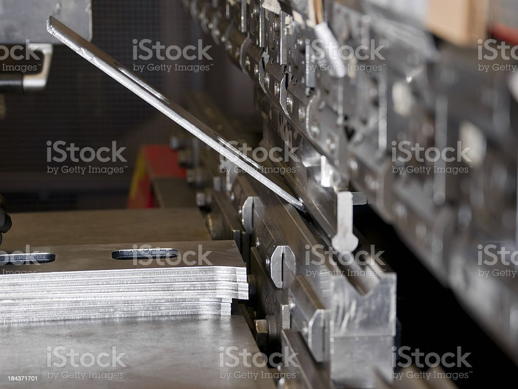 CNC Industrial brake press in use stock photo
