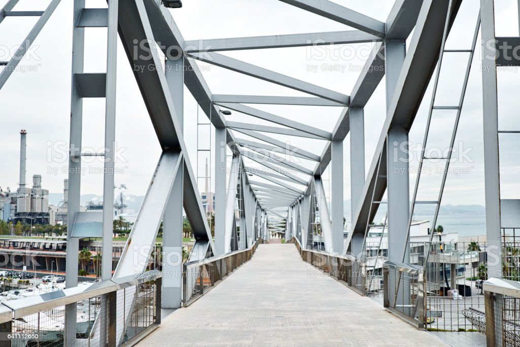 Industrial bridge construction stock photo