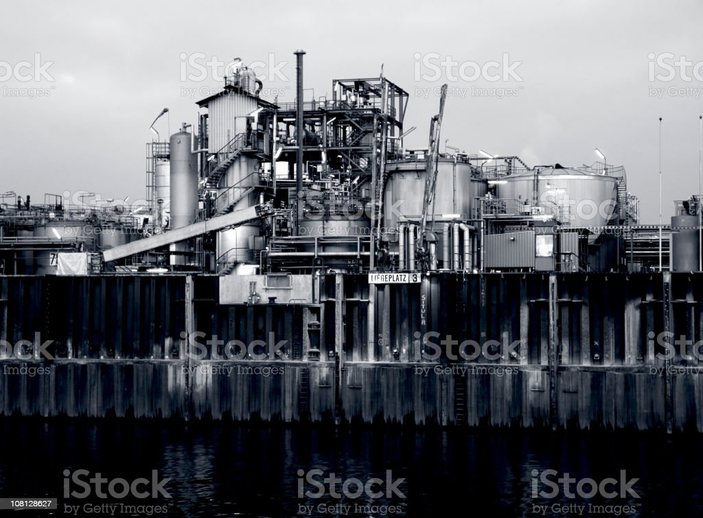 Industrial Building Along Harbour Front, Black and White royalty-free stock photo