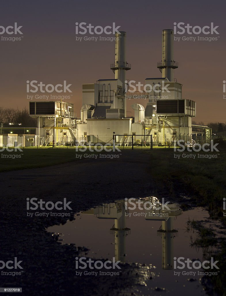 Industrial Building At Night royalty-free stock photo