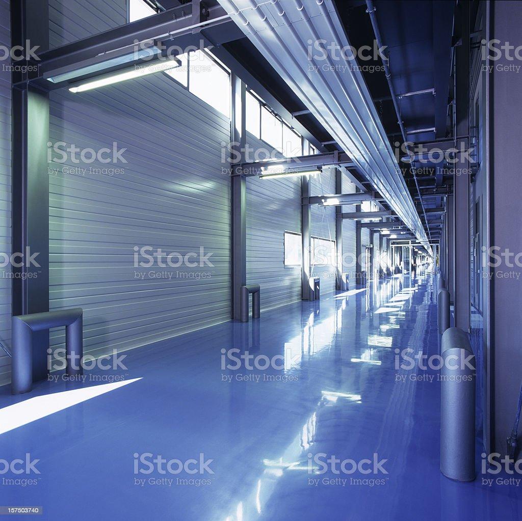 Industrial building floor in blue stock photo