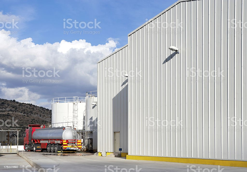 Industrial Building & Oil Tanker royalty-free stock photo