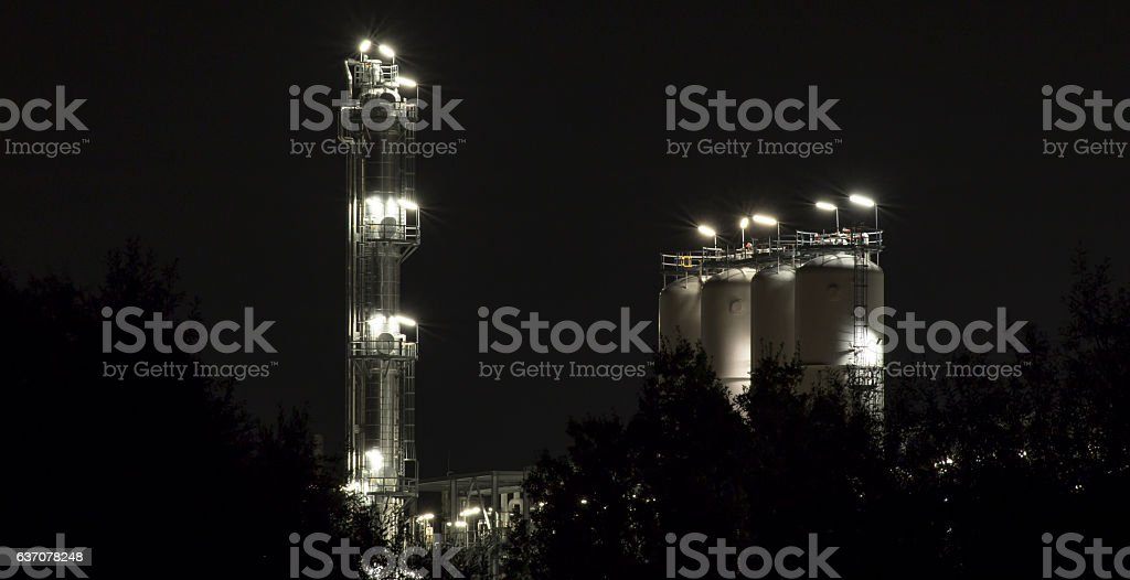 industrial building shot with bulb exposure by clear night stock photo