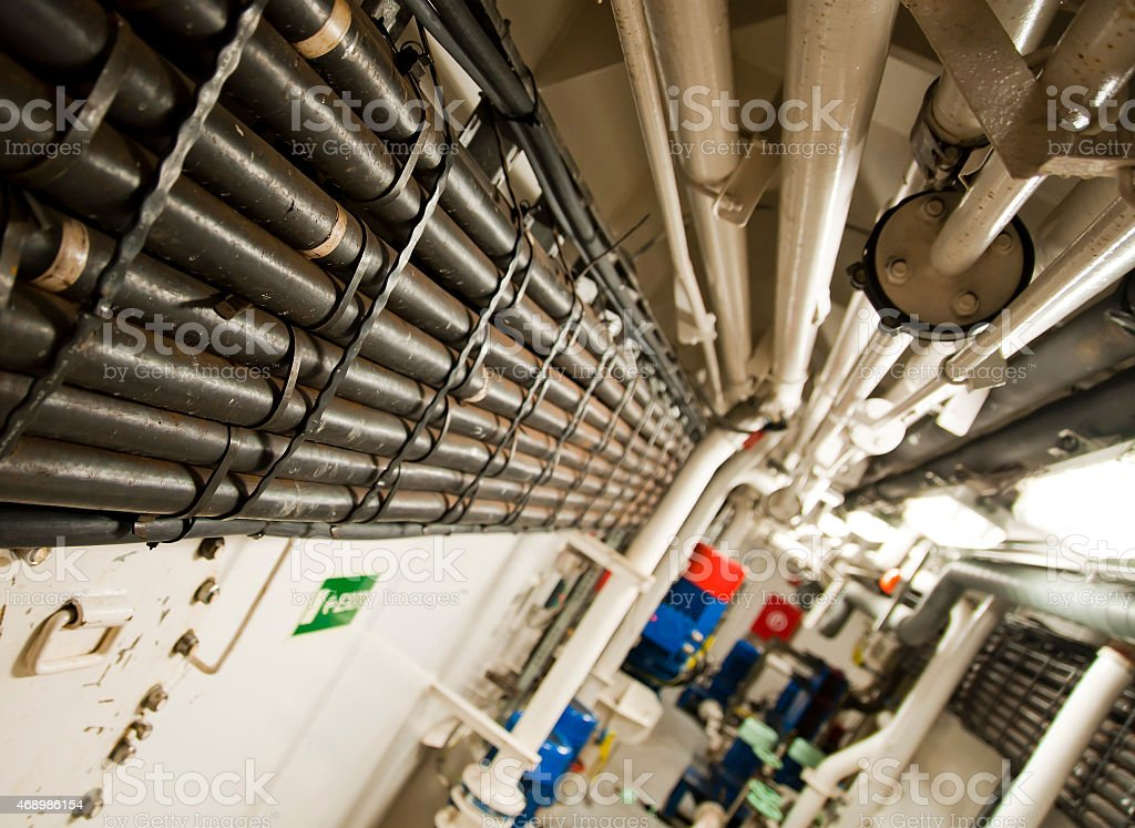 Industrial Cables - Ship Interior stock photo
