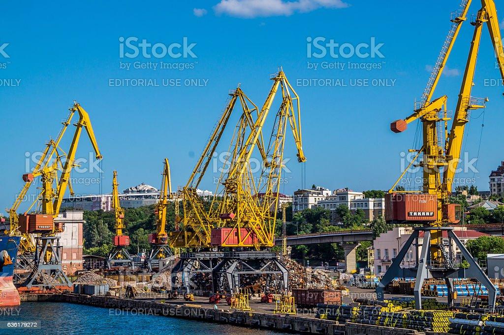 Industrial cargo port in Odessa stock photo
