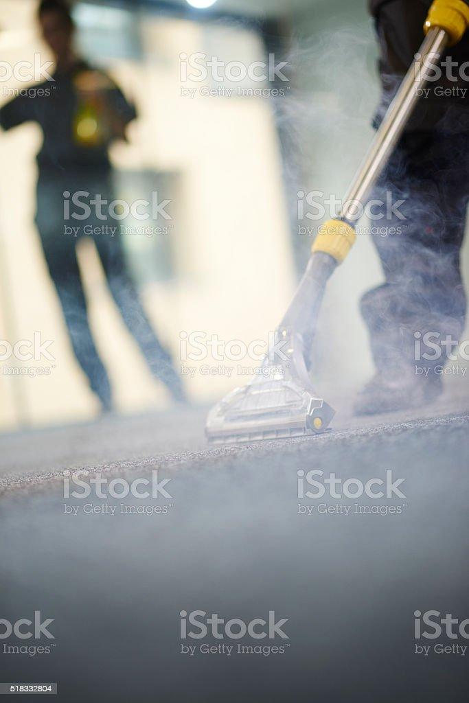 industrial carpet steam cleam stock photo