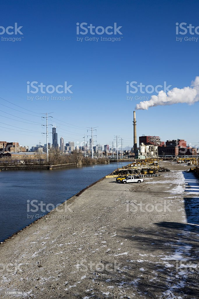 Industrial Chicago and River stock photo