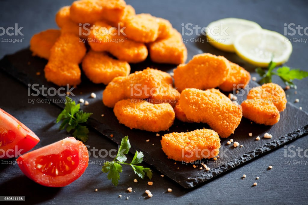 Industrial Chicken Nuggets stock photo