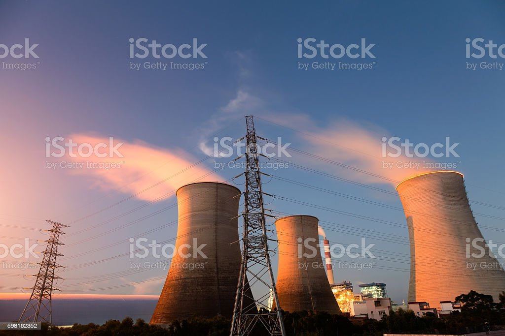 Industrial chimney stock photo