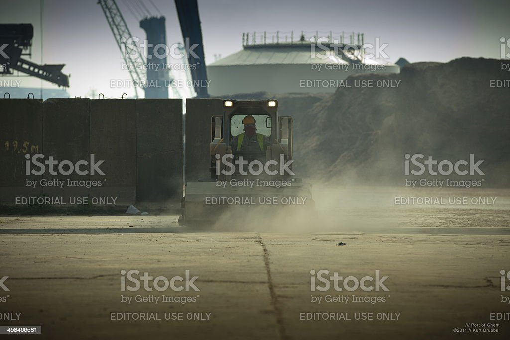 Industrial cleaning vehicle in Port of Ghent harbor stock photo
