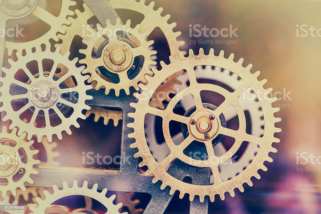 Industrial clock transmission gear set stock photo