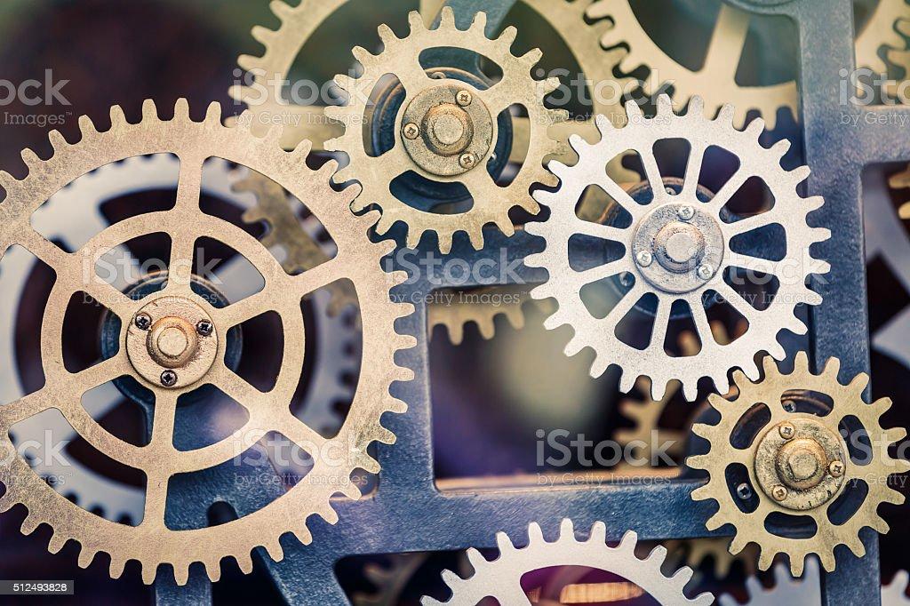 Industrial clock transmission gear set stock photo