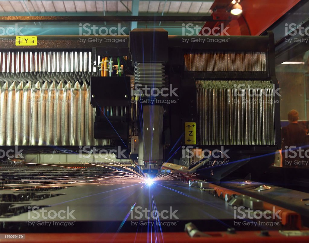 Industrial cnc sheet metal laser during operation. royalty-free stock photo
