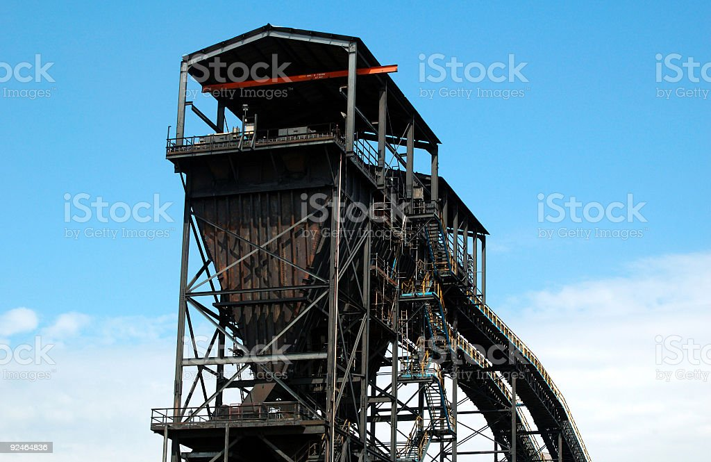 industrial coal shue and conveyor stock photo
