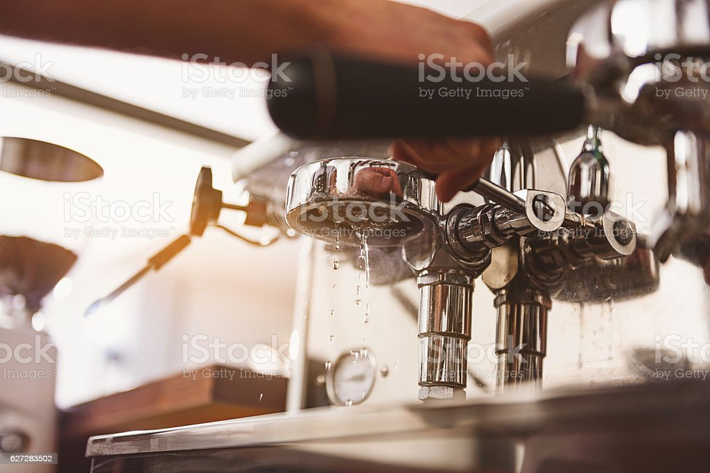 industrial coffee maker working without portafilter royaltyfree stock photo - Industrial Coffee Maker