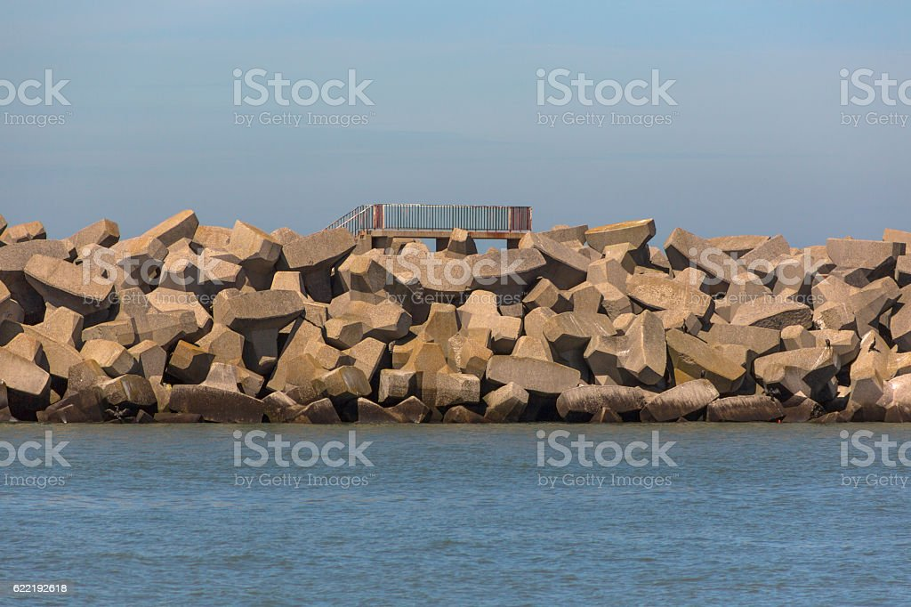 Industrial commercial harbour at normandy coast near calais france stock photo