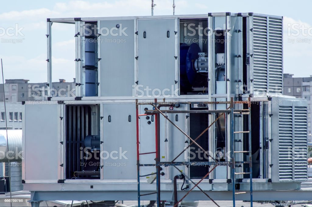 Industrial conditioner for the central ventilation system on the roof of the mall stock photo