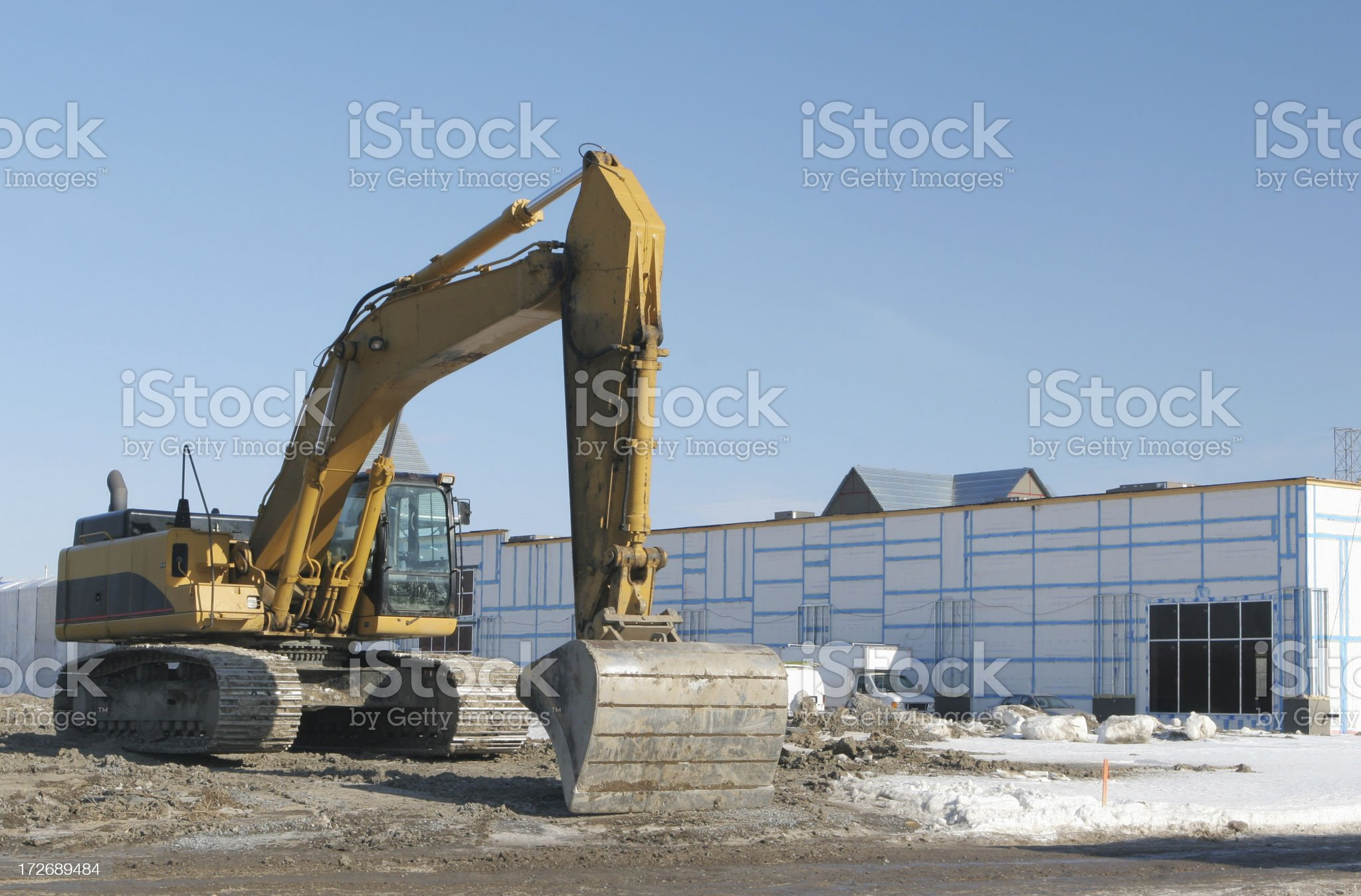 Industrial Construction in Winter royalty-free stock photo