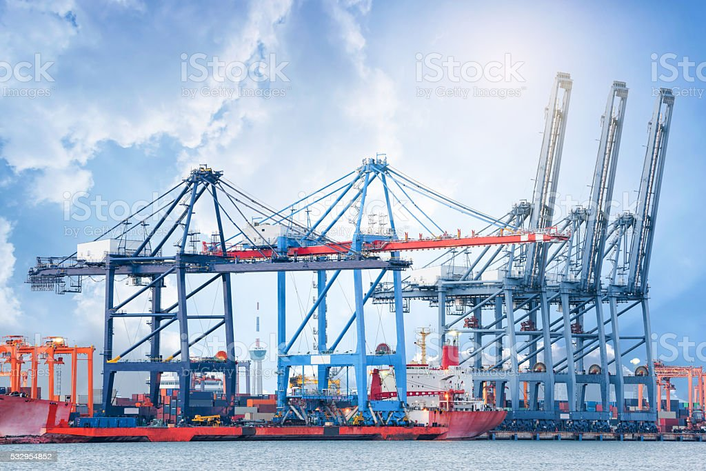 Industrial Container Cargo freight ship at port, Trade Port , Shipping stock photo
