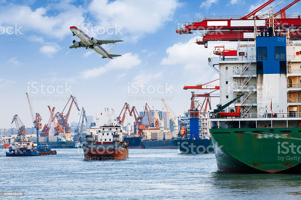 Industrial container freight Trade Port scene stock photo