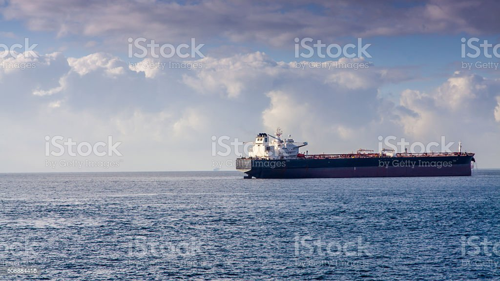 Industrial container ship in the Strait of Gibraltar stock photo