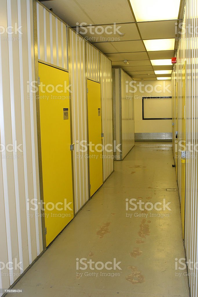 Industrial corridor, with numbered doors royalty-free stock photo