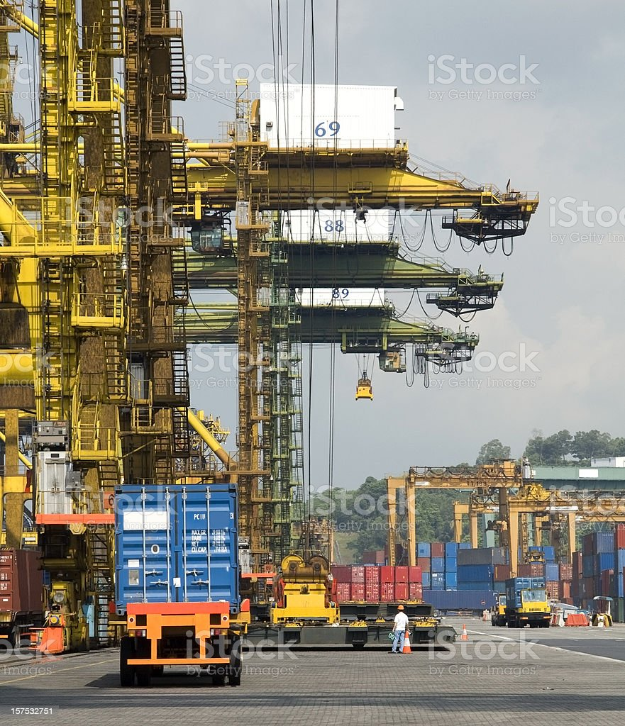 Industrial crane in the nusy harbor of Singapore royalty-free stock photo