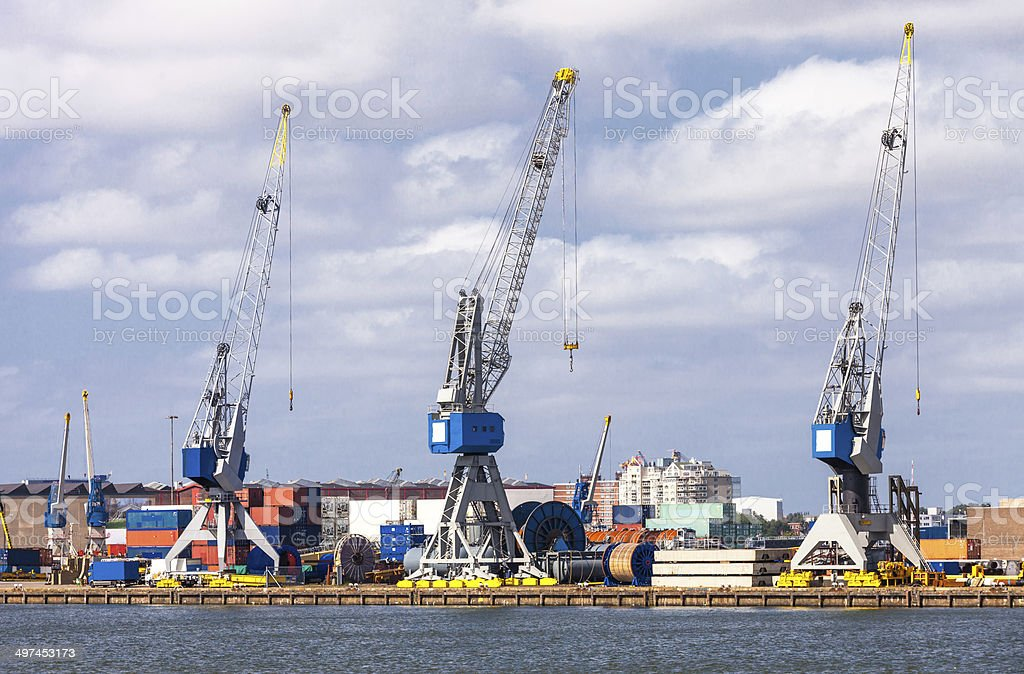 Industrial cranes in the harbour stock photo