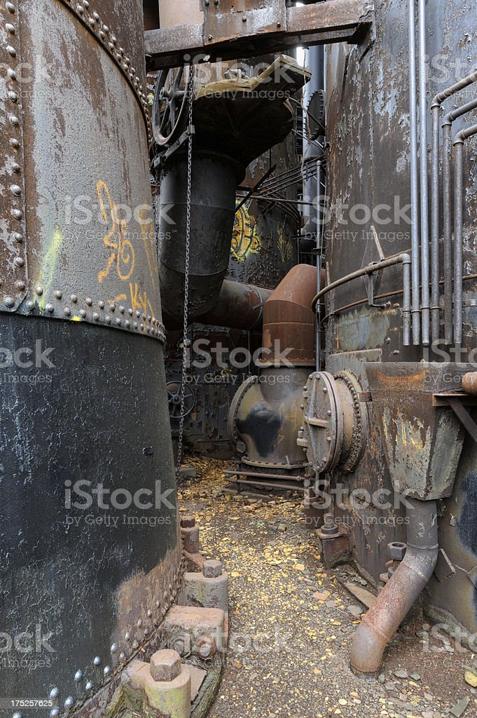 Industrial Debris Background, Abandoned Steel Mill Factory royalty-free stock photo