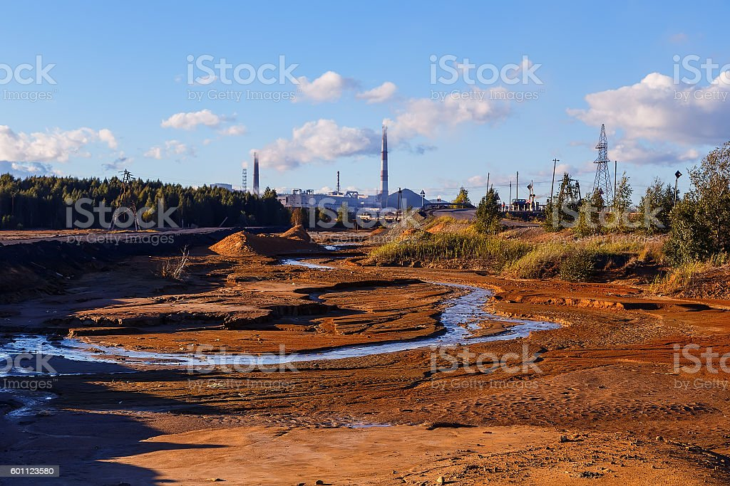 Industrial desert - aftermath of ecological catastrophe in Karabash, Russia stock photo