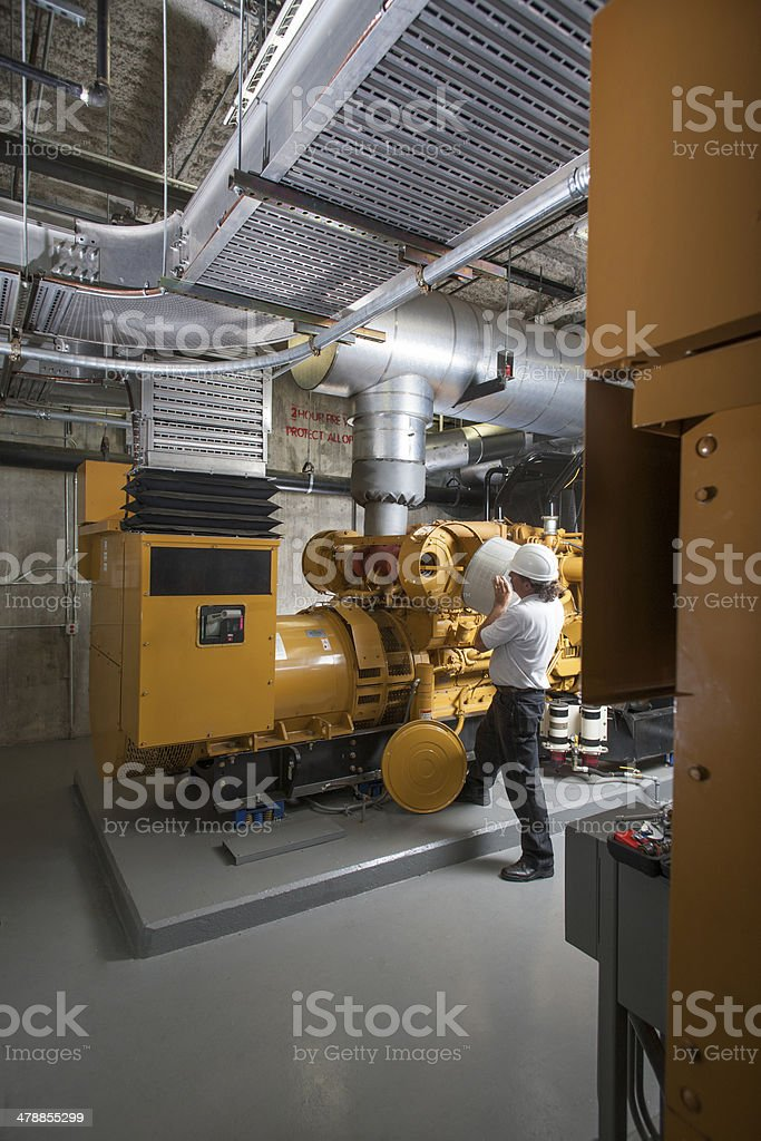 Industrial diesel mechanic stock photo