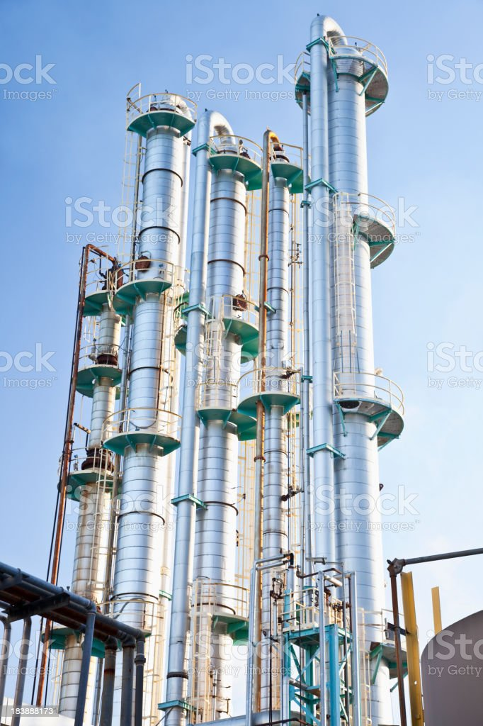 Industrial distillation towers royalty-free stock photo