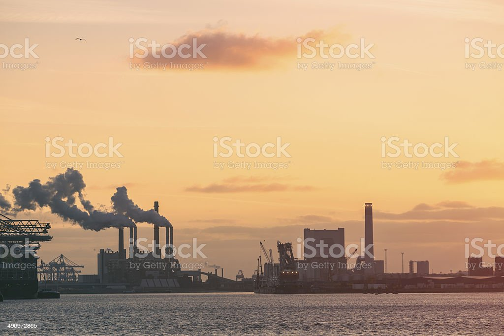 Industrial district on a coast of Rotterdam stock photo