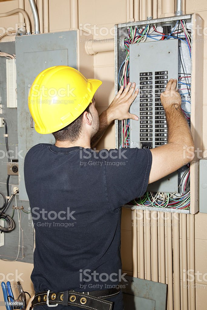 Industrial Electric Panel Repair royalty-free stock photo