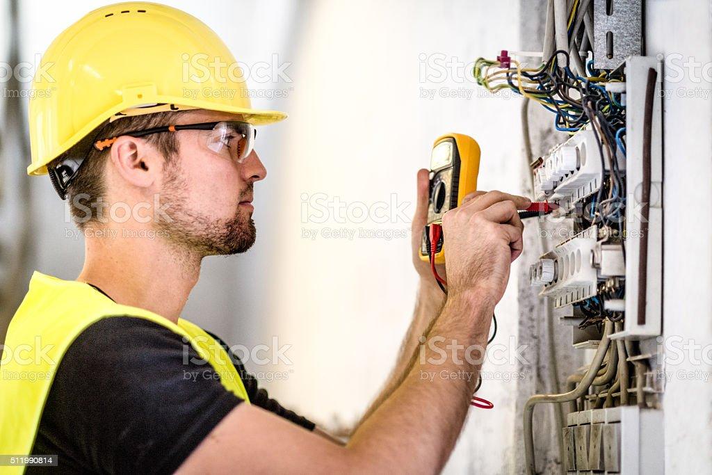 Industrial electric panel repair stock photo